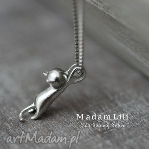 925 srebrny łańcuszek kotek, kokt, naszyjnik, srebro, elegancja, prezent