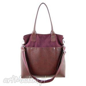 incat fiella - duża torba bordo i burgund, shopper, modna, miejska, prezent