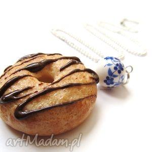 naszyjnik - donut, naszyjnik, modelina, fimo, ciastko, święta prezent