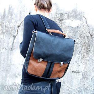 plecak torba czarno-brązowa, plecak, torba, teczka, tornister, skóra, szkoła