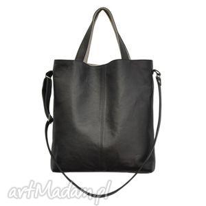 16-0030 czarna duża torebka damska z paskiem na ramię jay, skórzane, najmodniejsze