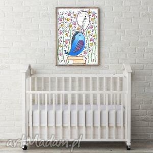 śpiewający ptaszek a3, ptak, ptaszek, obrazek, ilustracja, plakat dom