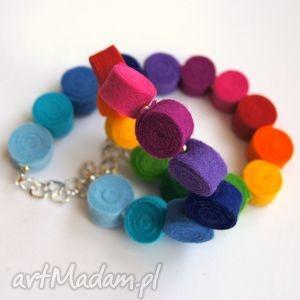 tęcza - korale z filcu tinyart, tęcza, korale, kolia, naszyjnik, modny, biżuteria