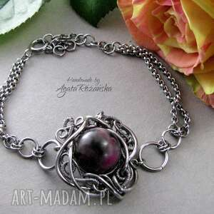 bransoletka agat, wire wrapping, stal chirurgiczna, bransoletka, wire, wrapping