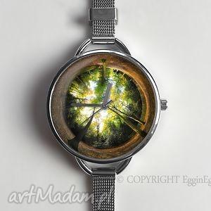 zegarki las - zegarek z dużą tarczką 0119ws, zegarek, las, drzewo, prezent, grafiką