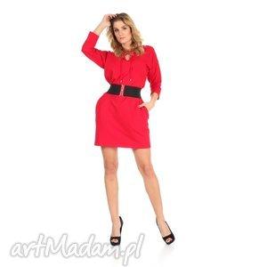 46-sukienka sznurowany dekolt,czerwona,rękaw 3 4,pasek , lalu, sukienka, dzianina