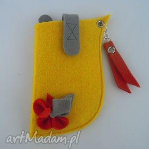 Etui na Telefon - Żółte z Czerwonym Małe, etui, pokrowiec, filc, filcowe, kwiatek