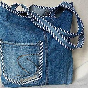 torba z jeansu wykończona lamówką, torba, ekotorba, jeans, bawełna, paski, prążki