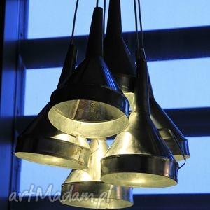 lampa z ocynkowanych lejków, loft, nowoczesny, ocynk, design, lejki, dom