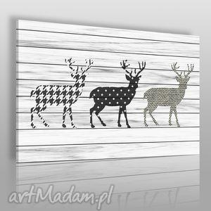 vaku dsgn obraz na płótnie - jelenie wzory 120x80 cm 36301 , jelenie, skandynawski
