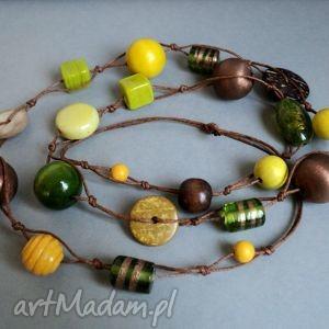 printemps - korale, naszyjnik, długi, drewno