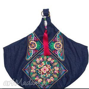 na ramię torba hmong, dymanicznie, kolorowo, etnicznie , torba, haft, ludowa, jeans