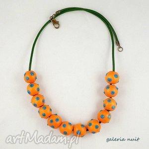 alexandra - korale ręcznie malowane - kropki, malowane, lekkie, wesołe, folkowe