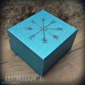 pudełka ręcznie malowane drewniane pudełko aegishjalmur, wiking, wikingowie