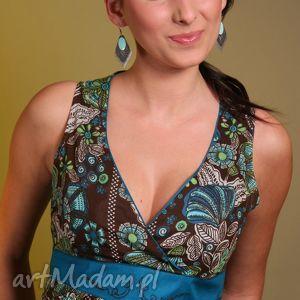 bluzki wzorzysty top z szarfą, top, bawełna, jedwab, wzór, haft, wiązanie ubrania