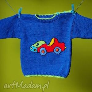 sweterek auto, sweterek, włóczka, rękodzieło dla dziecka