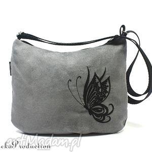 torebka black butterfly on grey , zamsz, haft, motyl, alkantara, wyszywana torebki