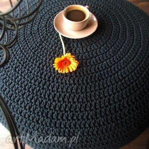 bardzo duża pufa - stolik ze sznurka, pufa, sznurek, stolik, handmade, czarny
