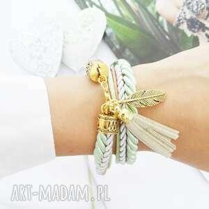 golden feather, bransoletka, piórko, pióro, chwost, złote, święta prezent