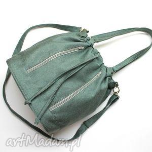 na ramię worek sakiewka - tkanina zielona, hobo, sack, worek, elegancka, nowoczesna