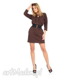 sukienki 46-sukienka sznurowany dekolt,brązowa,rękaw 3 4,pasek , lalu, sukienka
