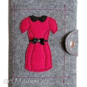 Okładka z sukienką, okładka, filc, filcowy, sukienka, cyrkonie