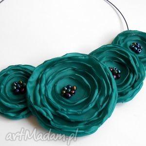 naszyjniki kwiatowy naszyjnik z tkaniny, kwiaty, kolia, naszyjnik, świąteczny