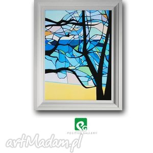 pejzaż morski grafika, las, drzewa, pejzaż, morze, plakat, wydruk grafika dom