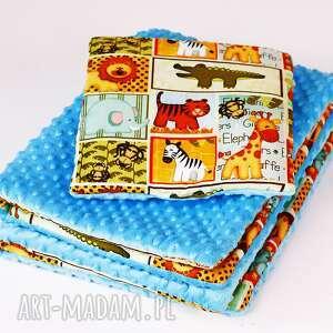 zestaw niemowkaka-kocyk i podusia safari niebieski, kocyk, poduszka