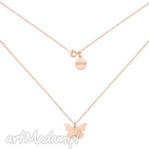 sotho naszyjnik z motylem różowego zlota, naszyjnik, motyl, motylek, rozowe, złoto