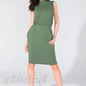 sukienka midi z kieszeniami t132 zielony - sukienka, midi, letnia, kieszenie