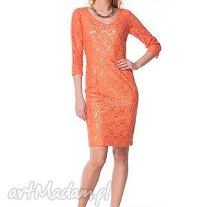 sukienki sukienka vittoria - pomarańczowa, moda, wesele, komunia, chrzciny, koronka