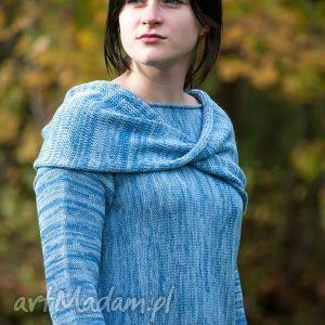 hermina niebieski, melanżowy, kimonowy sweter z kominem - arthermina, komin