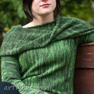 swetry zielony melanżowy sweter z kominem - arthermina, sweter, melanż, zieleń