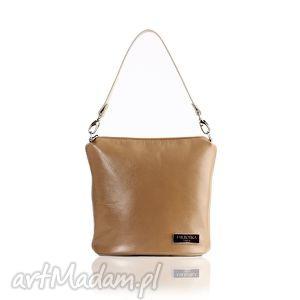 skórzana torebka touch karmelowa 076, listonoszka, elegancka, skórzana
