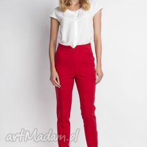 święta prezent, spodnie, sd112 czerwony, wysokie, czerwone, długie, zamek, eleganckie