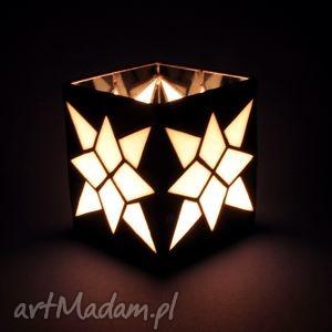 lampion witrażowy - star, lampion, box, unikat, witraż, szkło, handmade świeczniki
