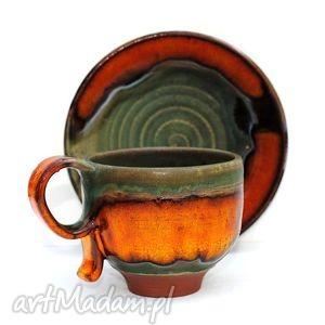 ceramika ceramiczna filiżanka b, filiżanka, talerzyk, unikatowe, użytkowe, naczynia