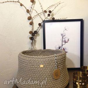 Beżowy koszyk XL, handmade, koszyk, sznurek, bawełna, basket