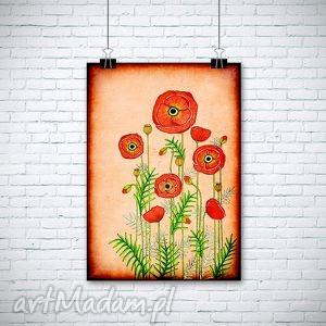 makowa łąka, kwiaty, maki, pole, obraz dom