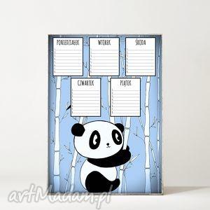 plan lekcji panda, miś, plan, lekcje, szkoła, plakat dla dziecka