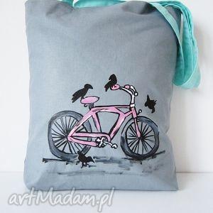 na zakupy torba z ręcznie wykonaną aplikacją, eko torebki