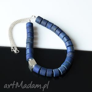 lapis lazuli naszyjnik - lapis, lazuli, srebro, naszyjnik
