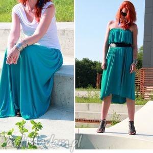 spódnica sukienka długa maxi letnia zwiewna morska, spódnica, wiskoza, lejąca