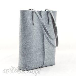 na ramię duża szara torebka z filcu- minimalistyczna- a4 - wysoka, filc, minimalizm
