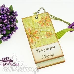 lista na zakupy dla p agnieszki, lista, zakupów, notes, kwiaty, zapiśnik
