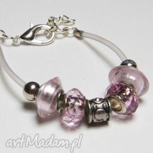 bransoletki różowa bransoletka z koralikami ze szkła murano elementami metalowymi