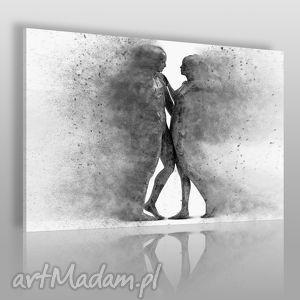 obrazy obraz na płótnie - para sylwetki postacie czarno-biały 120x80 cm 38404
