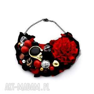 krawawa mary naszyjnik handmade - naszyjnik, handmade, kolorowy, czarny, czerwony