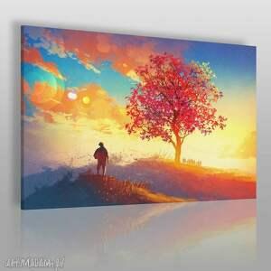 obrazy obraz na płótnie - pejzaż jesień 120x80 cm 21401 , pejzaż, jesień, postać